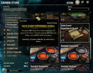 Crown Store XP Scrolls from Gems