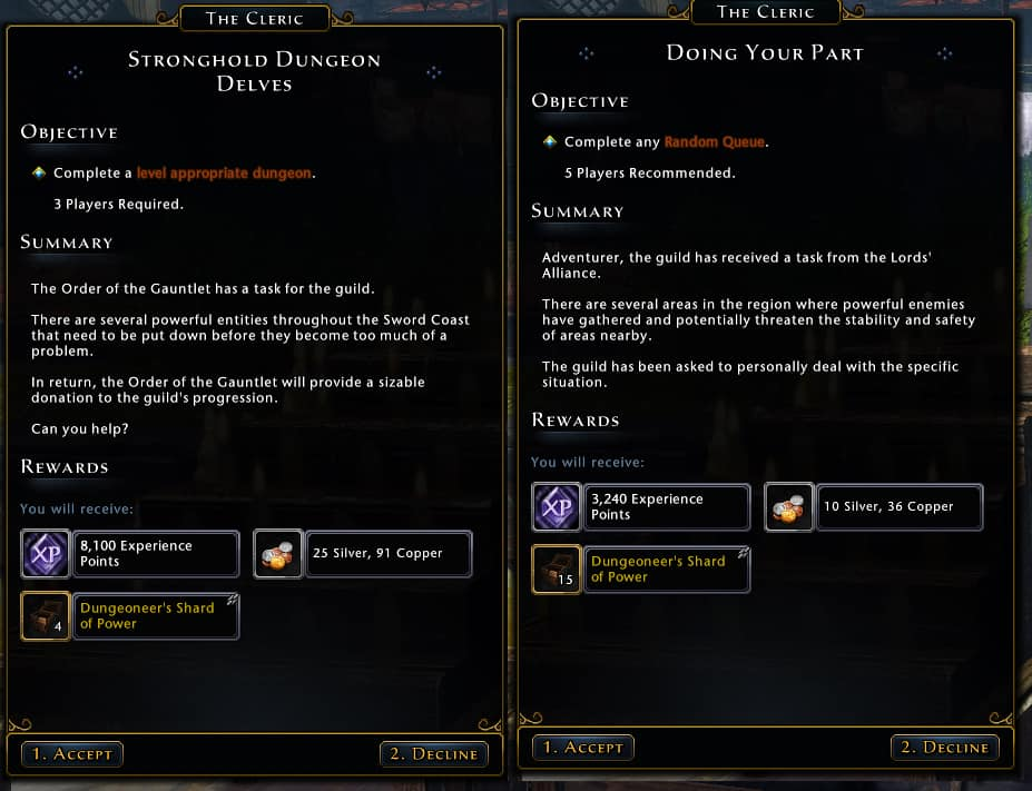 Guild Stronghold quests leveling