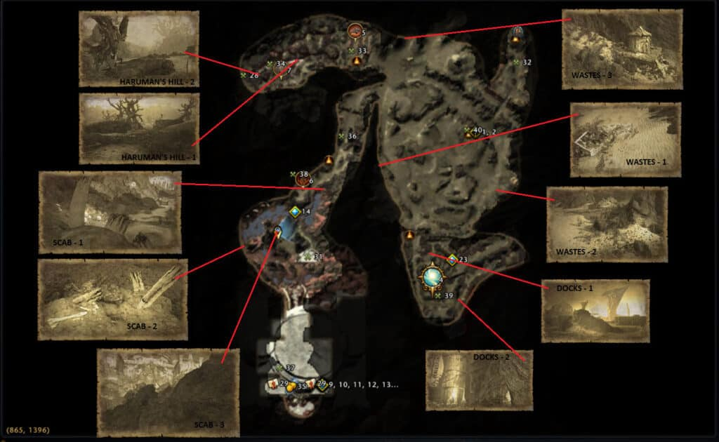 Map Showing the Treasure Map Locations in Mod 19