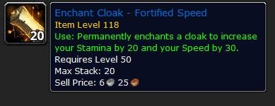 Shadowlands Cloak Speed Enchant