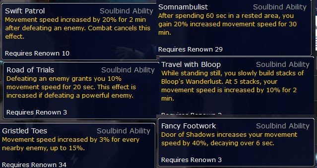 Soulbinds for Movement Speed