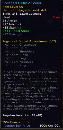 Wow leveling heirlooms