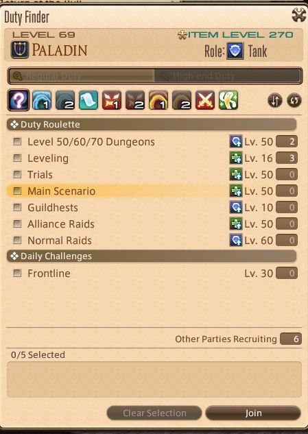 The Duty Finder in FFXIV