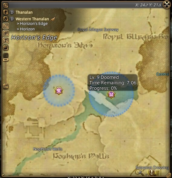 Use the Map in FFXIV to find Fates