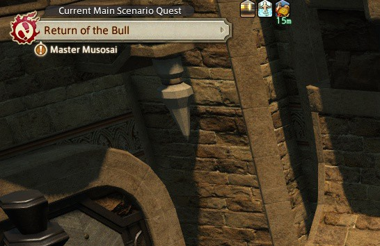 The FFXIV UI shows you where your next story or class quest is.